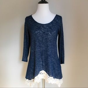 Blue Lightweight Tie Back Sweater With Lace Hem